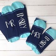 Solesmith Personalised mr. and mrs. striped socks