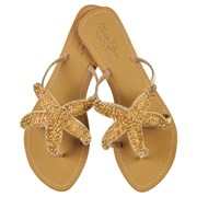 Annie Clare Phoebe leather sandals in gold
