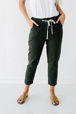 Little Lies Ramie Crop Pant KHAKI