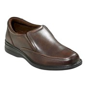 HUSH PUPPIES TRANSPORT WIDE LEATHER SLIP ON brown