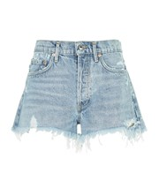 Agolde Parker Fringed Denim Shorts blue 3967