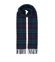 Harrods Fringed Check Wool Scarf navy 6210