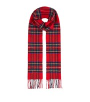 Harrods Fringed Check Wool Scarf red 6190
