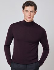 Hawes & Curtis Men's Blackberry Roll Neck Merino Wool Slim Fit Jumper