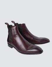 Hawes & Curtis Men's Burgundy Leather Chelsea Boot