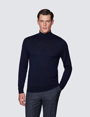 Hawes & Curtis Men's Navy Roll Neck Merino Wool Slim Fit Jumper