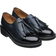 Herring Miranda ladies rubber-soled tasselled loafers Blue Calf and Black Calf