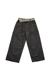 Brunello Cucinelli Dark Polished Denim Baggy Cropped Trousers With Belt And Monili Grey Denim 11803453