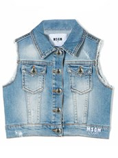 MSGM Blue Stretch Cotton Denim Gilet Jeans 11348521
