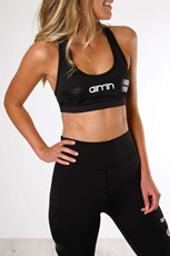Aimn Tribe Logo Sports Bra Black