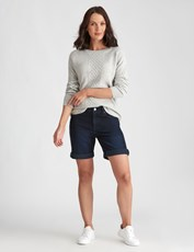 Katies Denim Fly Front Short DARK DENIM
