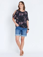Katies Denim Fly Front Short MID DENIM