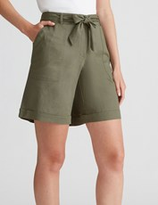 Katies Fly Front Linen Short KHAKI