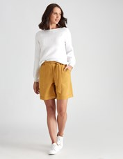 Katies Fly Front Linen Short MUSTARD