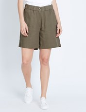 Katies Pull On Linen Short KHAKI