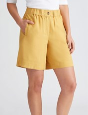 Katies Pull On Linen Short MUSTARD