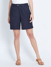 Katies Pull On Linen Short NAVY