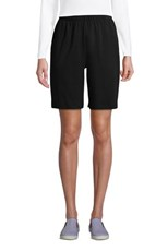 Lands' End Women's Petite Sport Knit High Rise Elastic Waist Pull On Shorts Black