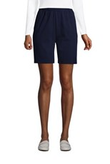 Lands' End Women's Petite Sport Knit High Rise Elastic Waist Pull On Shorts Radiant Navy