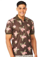 Lowes Chocolate Orange Hawaiian Print Polo