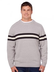 Prodigy Grey Crew Neck Knitted Stripe Pullover