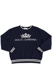 DOLCE & GABBANA Logo Wool Intarsia Knit Sweater NAVY