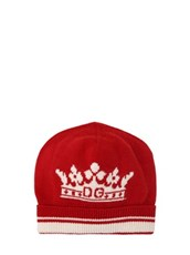 DOLCE & GABBANA Logo Wool & Cashmere Intarsia Knit Hat RED