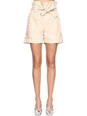 DROME Croc Embossed Leather Shorts Beige