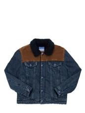 JACOB COHEN Cotton Denim Jacket W/ Faux Shearling Denim