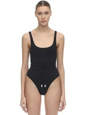 LES GIRLS LES BOYS One Piece Swimsuit W/ Drawstring Black