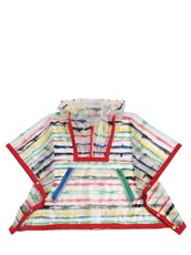STELLA MCCARTNEY KIDS Stripe Printed Pvc Rain Poncho TRANSPARENT