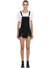 THE PEOPLE VS Joan Destroyed Short Overalls BLACK