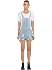 THE PEOPLE VS Joan Repatched Destroyed Short Overalls BLUE