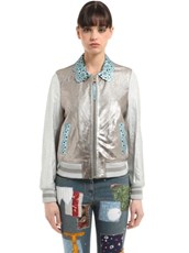 TOMMY HILFIGER COLLECTION Laminated Leather Bomber Jacket SILVER