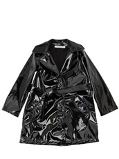 VIVETTA Faux Patent Leather Trench Coat BLACK