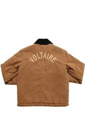 ZADIG&VOLTAIRE Embroidered Logo Cotton Denim Jacket Brown