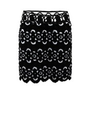 Anna Sui Blooming Floral Skirt BLK-WHT