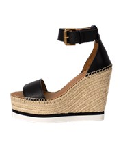 See By Chloe Glyn Leather Wedge Platform Shoe NERO