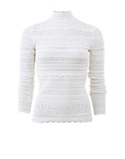 Alexander Mcqueen Lace Knit Turtleneck IVORY