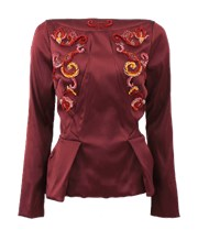 Zac Posen Layered Neck Embroidered Top BORDEAU
