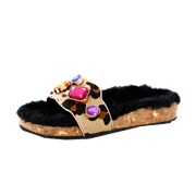 Sophia Webster Lyla Gem Leopard Slide NAT-BLK