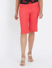 Millers 5 Pocket Stud Detail Short Over The Knee HIBISCUS RED