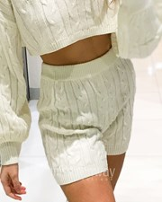 Miss Runway Boutique Lucy Knit Shorts - Ivory