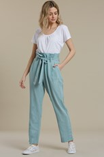 Mountain Warehouse Paperbag Linen Womens Cropped Trousers Mint