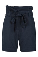 Mountain Warehouse Womens Linen Paperbag Shorts Navy