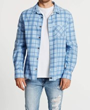 Kiss Chacey Trusted Standard Long Sleeve Shirt Blue Check