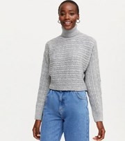 New Look Tall Grey Cable Knit Roll Neck Jumper