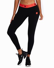 Nicky Kay High Tech Compression Tights: Black with Red waistband
