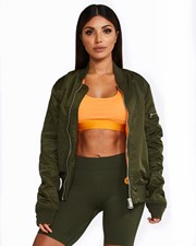 Nicky Kay Reversible Bomber Jacket: Khaki +Orange