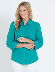 NONI B 3/4 SLEEVE LINEN SHIRT PEACOCK